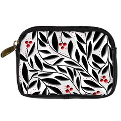 Red, Black And White Elegant Pattern Digital Camera Cases by Valentinaart