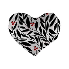 Red, Black And White Elegant Pattern Standard 16  Premium Heart Shape Cushions by Valentinaart