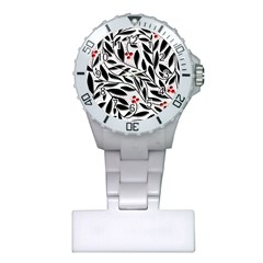 Red, Black And White Elegant Pattern Plastic Nurses Watch by Valentinaart