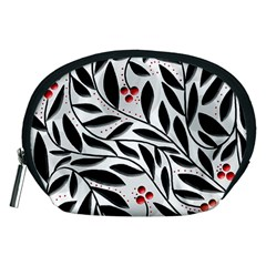 Red, Black And White Elegant Pattern Accessory Pouches (medium)  by Valentinaart