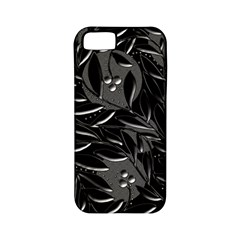 Black Floral Design Apple Iphone 5 Classic Hardshell Case (pc+silicone) by Valentinaart