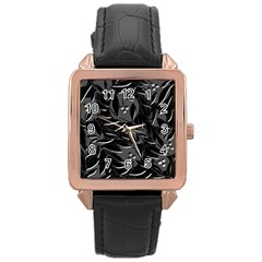 Black Floral Design Rose Gold Leather Watch  by Valentinaart