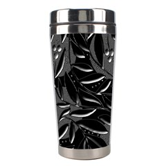 Black Floral Design Stainless Steel Travel Tumblers by Valentinaart