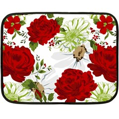 Red Roses Double Sided Fleece Blanket (mini)  by fleurs