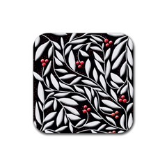 Black, Red, And White Floral Pattern Rubber Coaster (square)  by Valentinaart