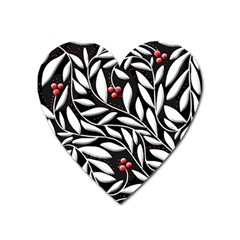 Black, Red, And White Floral Pattern Heart Magnet by Valentinaart