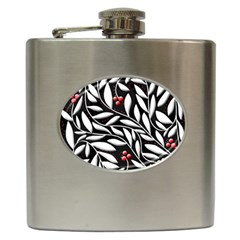 Black, Red, And White Floral Pattern Hip Flask (6 Oz) by Valentinaart