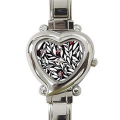 Black, Red, And White Floral Pattern Heart Italian Charm Watch by Valentinaart