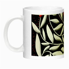 Black, Red, And White Floral Pattern Night Luminous Mugs by Valentinaart