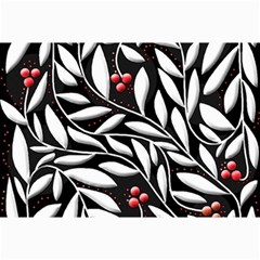 Black, Red, And White Floral Pattern Collage Prints by Valentinaart