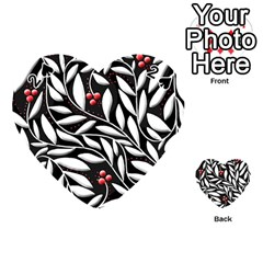 Black, Red, And White Floral Pattern Playing Cards 54 (heart)  by Valentinaart