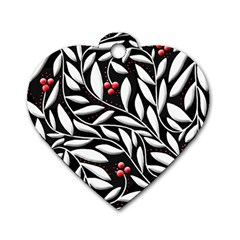 Black, Red, And White Floral Pattern Dog Tag Heart (one Side) by Valentinaart