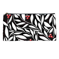 Black, Red, And White Floral Pattern Pencil Cases by Valentinaart