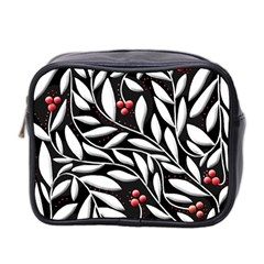 Black, Red, And White Floral Pattern Mini Toiletries Bag 2 Side by Valentinaart
