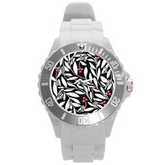 Black, Red, And White Floral Pattern Round Plastic Sport Watch (l)