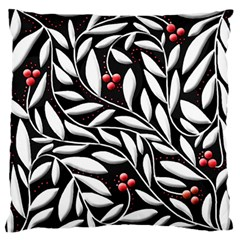 Black, Red, And White Floral Pattern Standard Flano Cushion Case (one Side) by Valentinaart