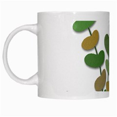 Green Decorative Plant White Mugs by Valentinaart