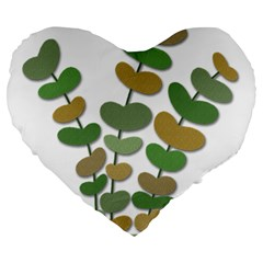 Green Decorative Plant Large 19  Premium Heart Shape Cushions