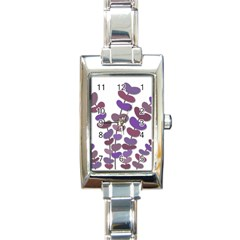 Purple Decorative Plant Rectangle Italian Charm Watch by Valentinaart
