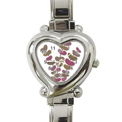 Magenta Decorative Plant Heart Italian Charm Watch by Valentinaart