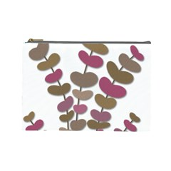 Magenta Decorative Plant Cosmetic Bag (large)  by Valentinaart
