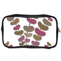 Magenta Decorative Plant Toiletries Bags 2 Side