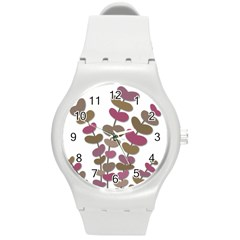Magenta Decorative Plant Round Plastic Sport Watch (m) by Valentinaart