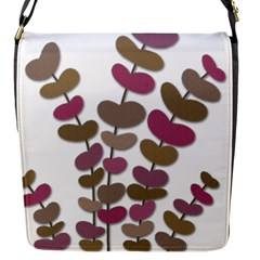 Magenta Decorative Plant Flap Messenger Bag (s) by Valentinaart