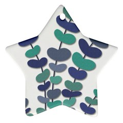 Blue Decorative Plant Star Ornament (two Sides)  by Valentinaart