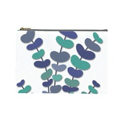 Blue Decorative Plant Cosmetic Bag (large)  by Valentinaart