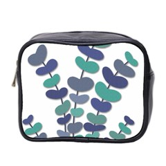 Blue Decorative Plant Mini Toiletries Bag 2 Side by Valentinaart