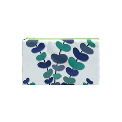 Blue Decorative Plant Cosmetic Bag (xs) by Valentinaart