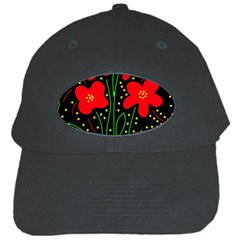 Red Flowers Black Cap