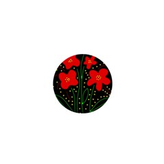 Red Flowers 1  Mini Buttons by Valentinaart