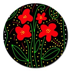 Red Flowers Magnet 5  (round) by Valentinaart