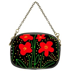 Red Flowers Chain Purses (two Sides)  by Valentinaart