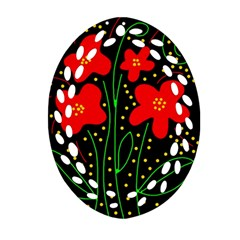 Red Flowers Oval Filigree Ornament (2 Side)  by Valentinaart