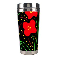 Red Flowers Stainless Steel Travel Tumblers by Valentinaart