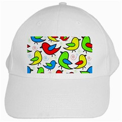 Colorful Cute Birds Pattern White Cap