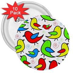 Colorful Cute Birds Pattern 3  Buttons (10 Pack)  by Valentinaart