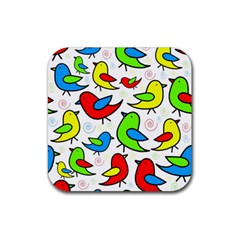 Colorful Cute Birds Pattern Rubber Coaster (square)  by Valentinaart
