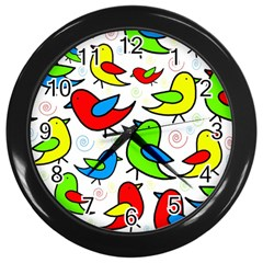 Colorful Cute Birds Pattern Wall Clocks (black) by Valentinaart