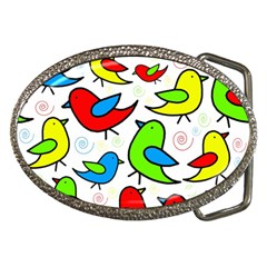 Colorful Cute Birds Pattern Belt Buckles by Valentinaart