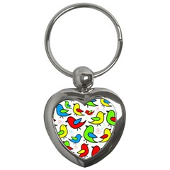 Colorful Cute Birds Pattern Key Chains (heart)  by Valentinaart