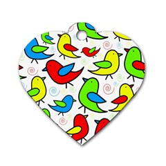 Colorful Cute Birds Pattern Dog Tag Heart (two Sides) by Valentinaart