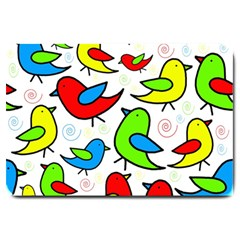 Colorful Cute Birds Pattern Large Doormat  by Valentinaart