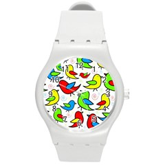 Colorful Cute Birds Pattern Round Plastic Sport Watch (m) by Valentinaart