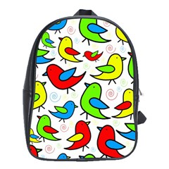 Colorful Cute Birds Pattern School Bags (xl)  by Valentinaart