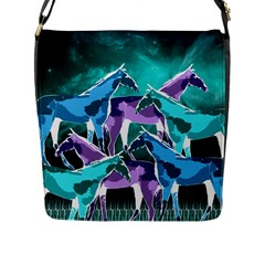 Horses Under A Galaxy Flap Closure Messenger Bag (l)