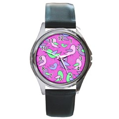 Pink Birds Pattern Round Metal Watch by Valentinaart